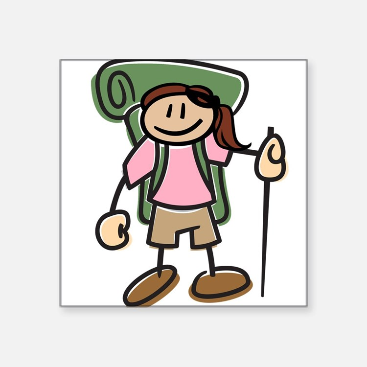 "Cute I like hike Square Sticker 3"" x 3"""