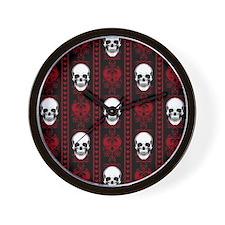 Baroque Skull Stripe Pattern Red Wall Clock