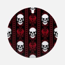 Baroque Skull Stripe Pattern Red Round Ornament