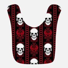 Baroque Skull Stripe Pattern Red Bib