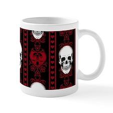 Baroque Skull Stripe Pattern Red Small Small Mug