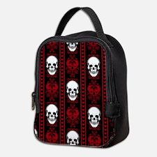 Baroque Skull Stripe Pattern Re Neoprene Lunch Bag