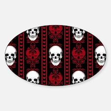 Baroque Skull Stripe Pattern Red Decal