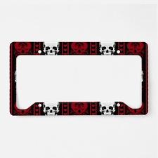 Baroque Skull Stripe Pattern License Plate Holder