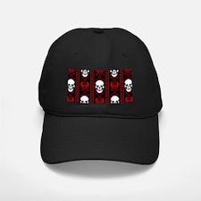 Baroque Skull Stripe Pattern Red Baseball Hat