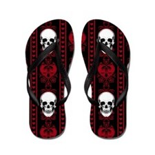 Baroque Skull Stripe Pattern Red Flip Flops