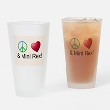 Peace Love Mini Rex Drinking Glass