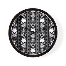 Baroque Skull Stripe Pattern Black Wall Clock