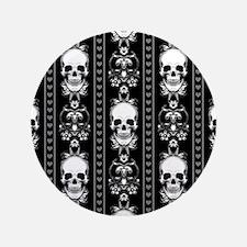 Baroque Skull Stripe Pattern Black Button