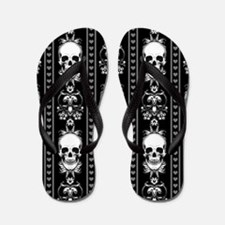 Baroque Skull Stripe Pattern Black Flip Flops