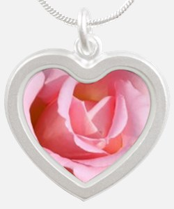 Pink Rose Silver Heart Necklaces