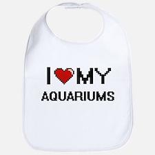 I Love My Aquariums Digital Retro Design Bib