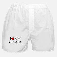I Love My Artwork Digital Retro Desig Boxer Shorts