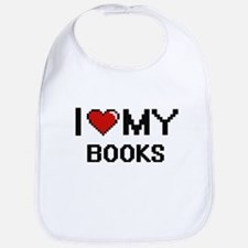 I Love My Books Digital Retro Design Bib