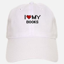 I Love My Books Digital Retro Design Baseball Baseball Cap