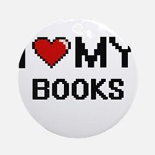 I Love My Books Digital Retro Desig Round Ornament