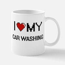 I Love My Car Washing Digital Retro Design Mugs