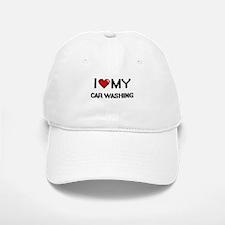 I Love My Car Washing Digital Retro Design Baseball Baseball Cap