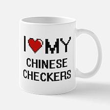 I Love My Chinese Checkers Digital Retro Desi Mugs