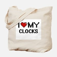 I Love My Clocks Digital Retro Design Tote Bag