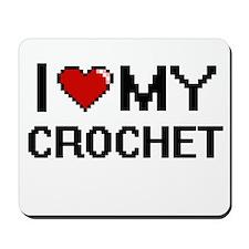 I Love My Crochet Digital Retro Design Mousepad