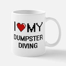 I Love My Dumpster Diving Digital Retro Desig Mugs