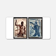 African Spear Fisherman and Aluminum License Plate