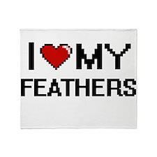 I Love My Feathers Digital Retro Des Throw Blanket