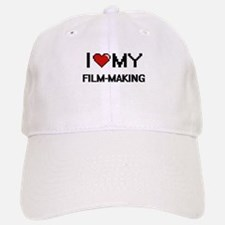 I Love My Film-Making Digital Retro Design Baseball Baseball Cap