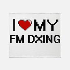 I Love My Fm Dxing Digital Retro Des Throw Blanket