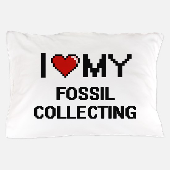 I Love My Fossil Collecting Digital Re Pillow Case