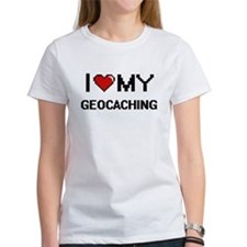 I Love My Geocaching Digital Retro Design T-Shirt