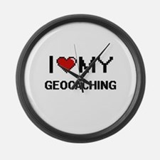 I Love My Geocaching Digital Retr Large Wall Clock
