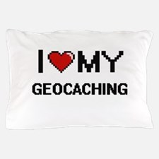 I Love My Geocaching Digital Retro Des Pillow Case