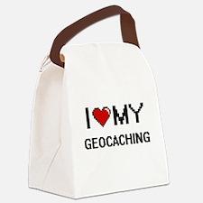 I Love My Geocaching Digital Retr Canvas Lunch Bag