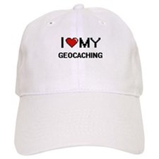 I Love My Geocaching Digital Retro Design Baseball Cap