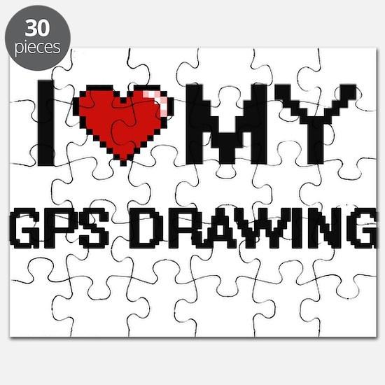 I Love My Gps Drawing Digital Retro Design Puzzle