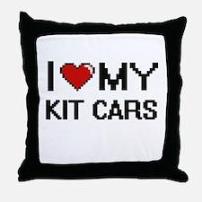 I Love My Kit Cars Digital Retro Desi Throw Pillow
