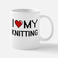 I Love My Knitting Digital Retro Design Mugs