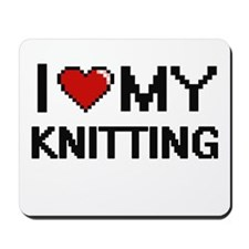 I Love My Knitting Digital Retro Design Mousepad