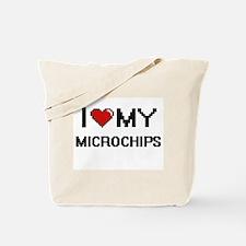 I Love My Microchips Digital Retro Design Tote Bag