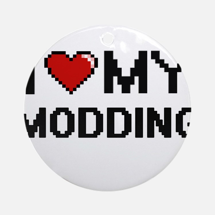 I Love My Modding Digital Retro Des Round Ornament