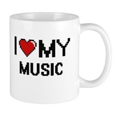 I Love My Music Digital Retro Design Mugs