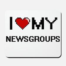 I Love My Newsgroups Digital Retro Desig Mousepad