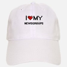 I Love My Newsgroups Digital Retro Design Baseball Baseball Cap