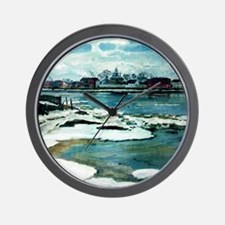 Floating Ice on the Dvina River Wall Clock