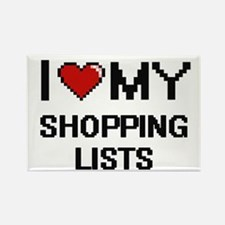 I Love My Shopping Lists Digital Retro Des Magnets