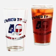 American 40th Birthday Drinking Glass