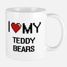 I Love My Teddy Bears Digital Retro Design Mugs