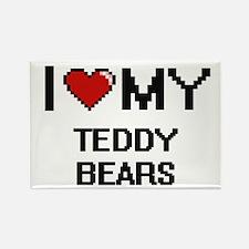 I Love My Teddy Bears Digital Retro Design Magnets
